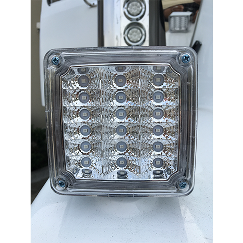 LED Square 1 stud 2 face 12 Volt Clear/Amber